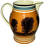 "7 ¾"" Seaweed Decorated (Dendritic) Mocha Ware Pitcher, c. 1850"