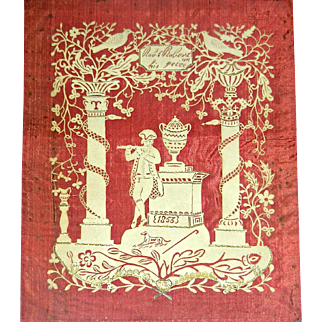 Unusual Cut Paper Scherenschnitte, Signed & Dated 1853 w/Gilt Highlights