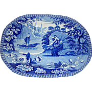 "16 ½"" Blue Staffordshire Platter: ""Lady of the Lake"" c. 1830"