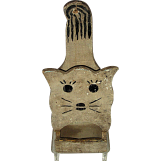 Cat Shaped Folk Art Wooden Hanging Wall Box for Matches, c. 1940s