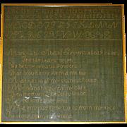 Abigail Stevens Linsey Woolsey Marking Sampler, c. 1810-1820