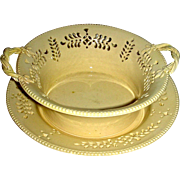 Round Pierced English Creamware Basket & Tray, c. 1790
