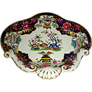 Ornately Decorated English Porcelain Dessert Dish with Cobalt Blue & Gold Highlights & Molded Shells, c. 1820