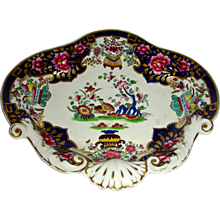 Ornately Decorated English Porcelain Dessert Dish with Cobalt Blue & Gold Highlights & Molded Shells, c. 1820
