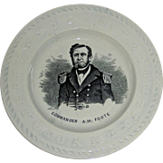 Staffordshire Child's ABC Plate w/ Civil War Commander A. H. Foote, c. 1862