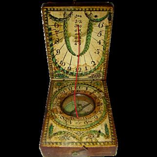 Diptych Pocket Sundial Compass, c. 1800
