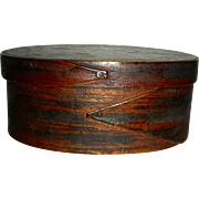 Scratch-Grain Painted 2 Finger Oval Box w/ Original Surface