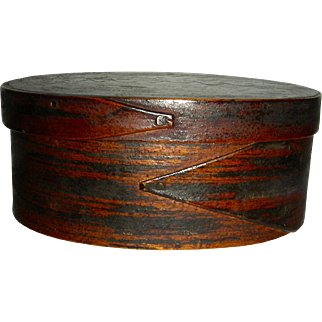 Scratch-Grain Painted 2 Finger Oval Box w/ Original Surface