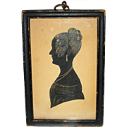 Small Painted Silhouette of Woman Wearing Jewelry, Dated 1836