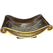 Decorated Toleware (Tin) Cheese Cradle, Mid 19th Century, w/ Divided Interior