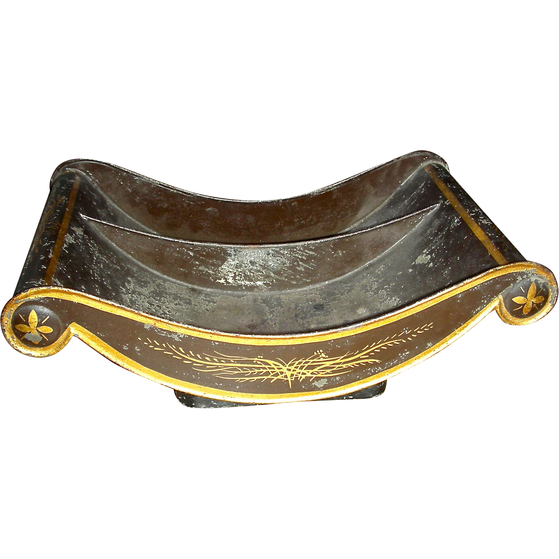 Decorated Toleware (Tin) Cheese Cradle, Mid 19th Century	, w/ Divided Interior