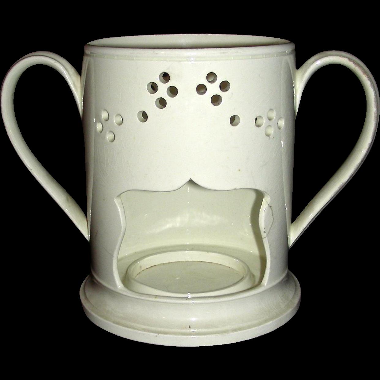 Late 18th Century English Creamware Food Warmer or Veilleuse