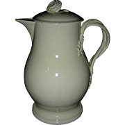 English Creamware Coffee Pot w/ Strap Handles & Flower Finial, c. 1790