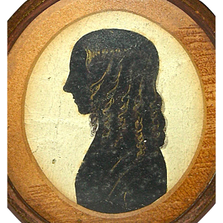 Painted Silhouette of a Young Girl w/ Golden Curls, c. 1820