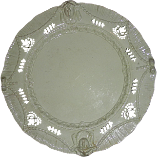Elaborate Molded English Creamware Shell Edge Plate w/ Pierced Decoration, c. 1800