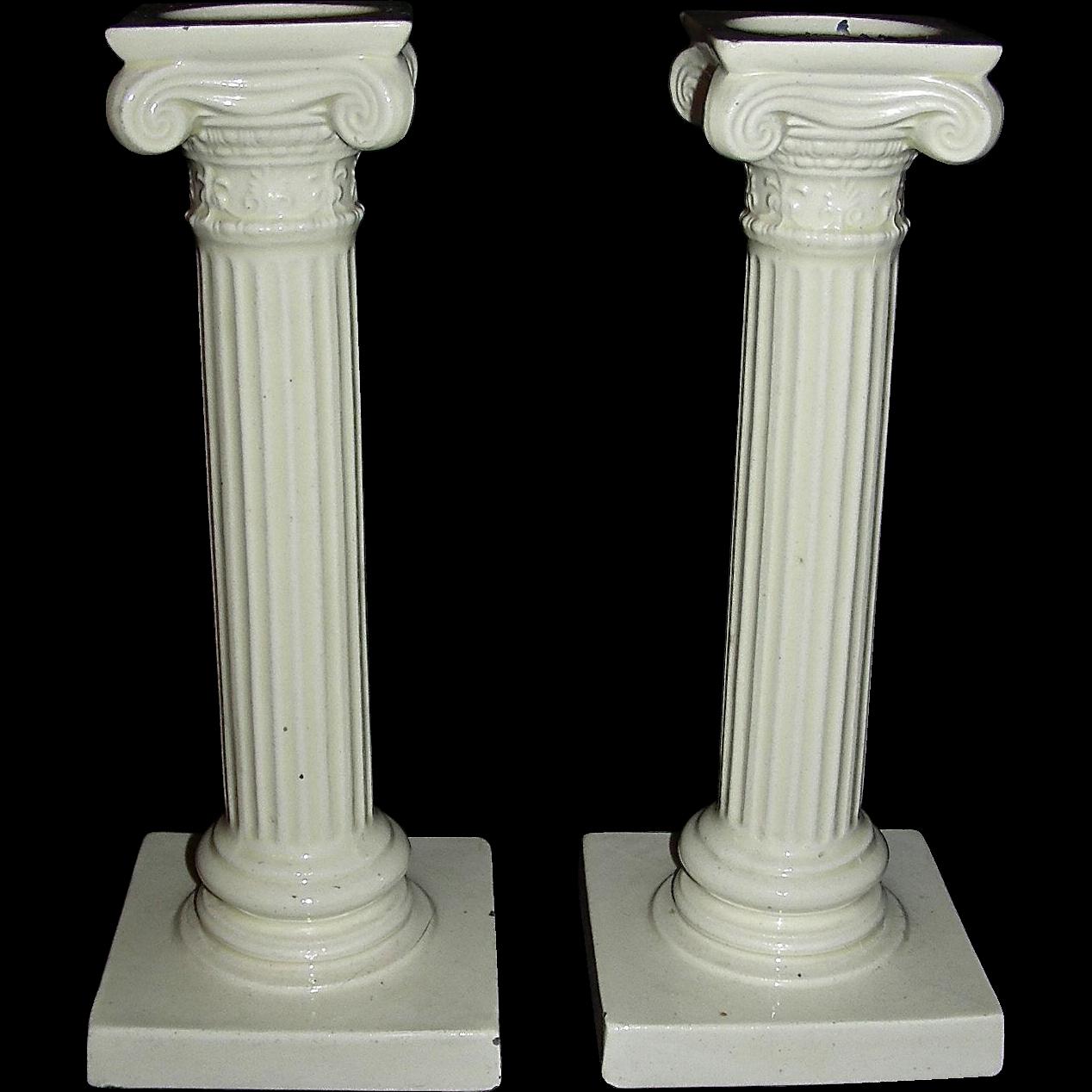 Pair of English Creamware Ionic Column Candlesticks, c. 1875