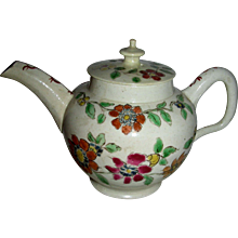 Small Decorated English Salt Glaze Teapot, c. 1760