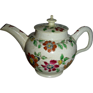 Small Decorated English Salt Glaze Teapot, c. 1760