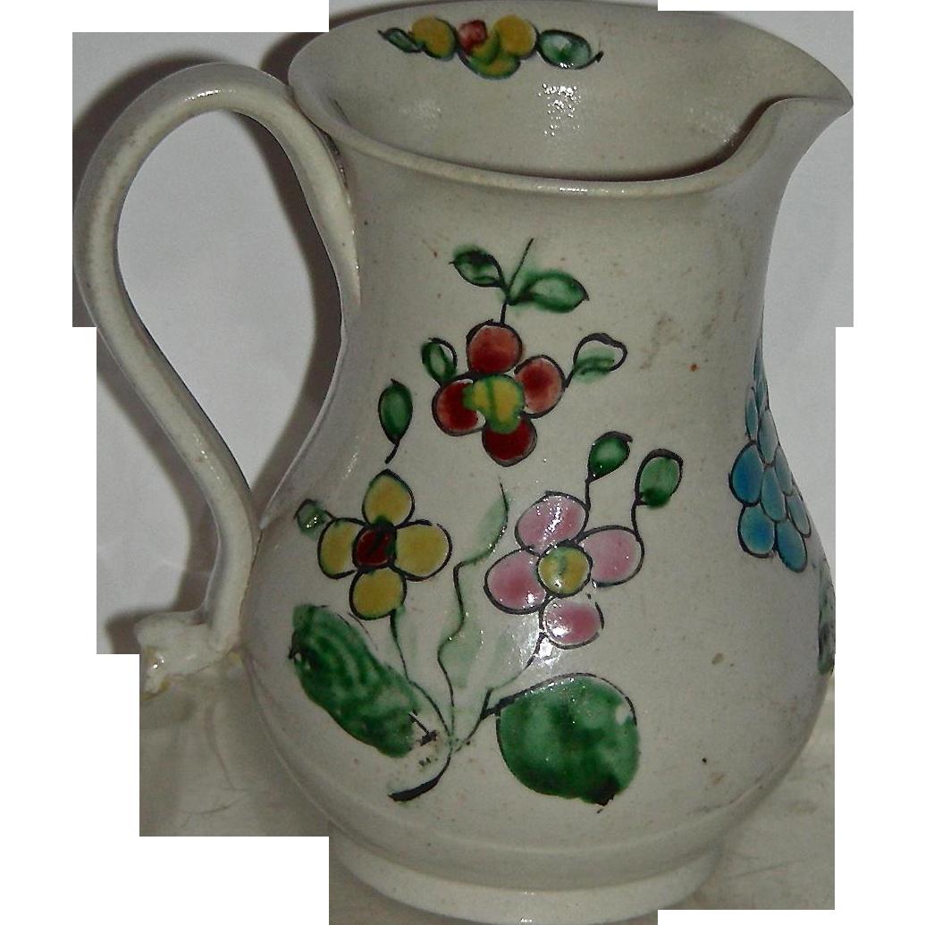 Very Small Decorated English Salt Glaze Cream Jug, c. 1760