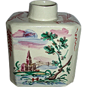 Decorated English Staffordshire Salt Glaze Tea Canister w/ Landscape Scenes, c. 1770