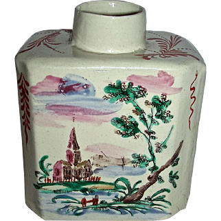 Decorated English Staffordshire Salt Glaze Tea Canister w/ Landscape Scenes, c. 1770