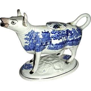 Early Staffordshire Cow Creamer w/ Wafer Base & Chinoiserie Decoration, c. 1820