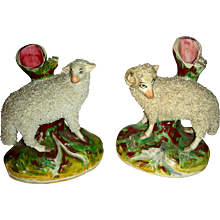 Pair of Staffordshire Sheep Spill Vases, c. 1860-1880
