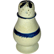 "4 ½"" Staffordshire Pearlware Pepperpot w/ Blue Enamel Decoration, c. 1820"
