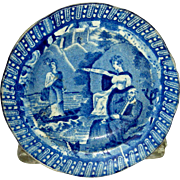 "Blue Staffordshire Cup Plate:  ""Lady of the Lake,"" c. 1830"