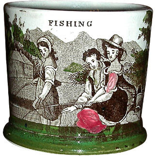 "Staffordshire Child's Mug ""Fishing"" with Underglaze Color Highlights, c. 1840"
