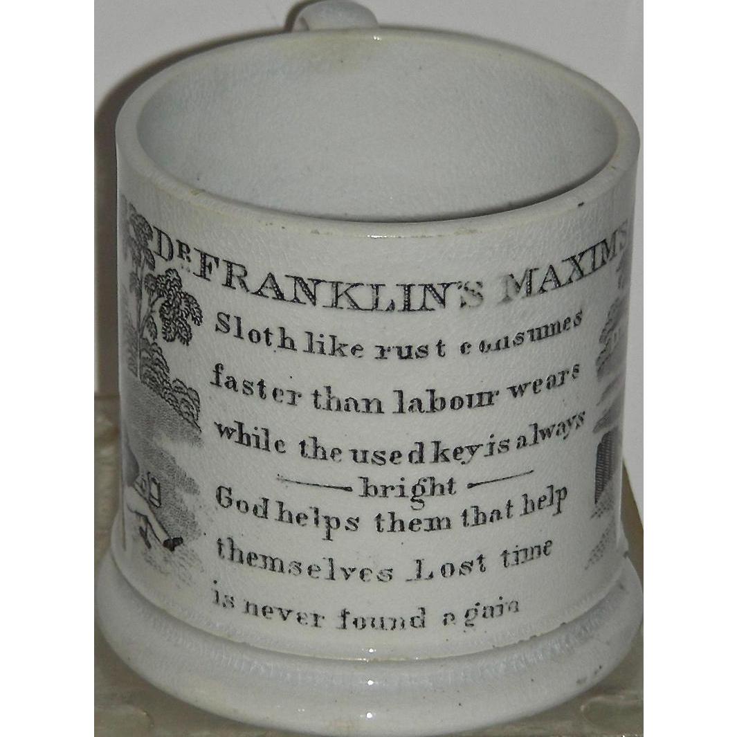 Staffordshire Child's Mug: Dr. Franklin's Maxims Series, c. 1840