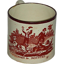 "Staffordshire Child's Mug w/ Pink Lustre Rim: ""A Reward for Industry"" c. 1840"