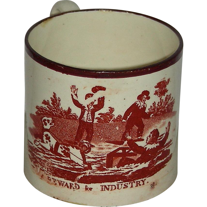 "Staffordshire Child's Mug w/ Pink Lustre Rim: ""A Reward for Industry"" c. 1840"