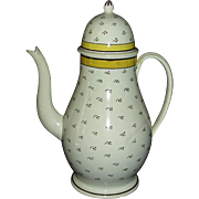 English Pearlware Dome Top Coffee Pot, c. 1820