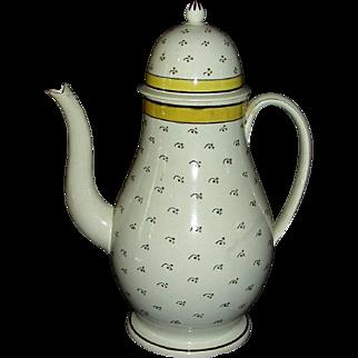 English Pearlware Dome Top Coffee Pot, c. 1820