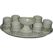 English Creamware Egg Stand w/ 6 Egg Cups Marked Wedgwood, c. 1790