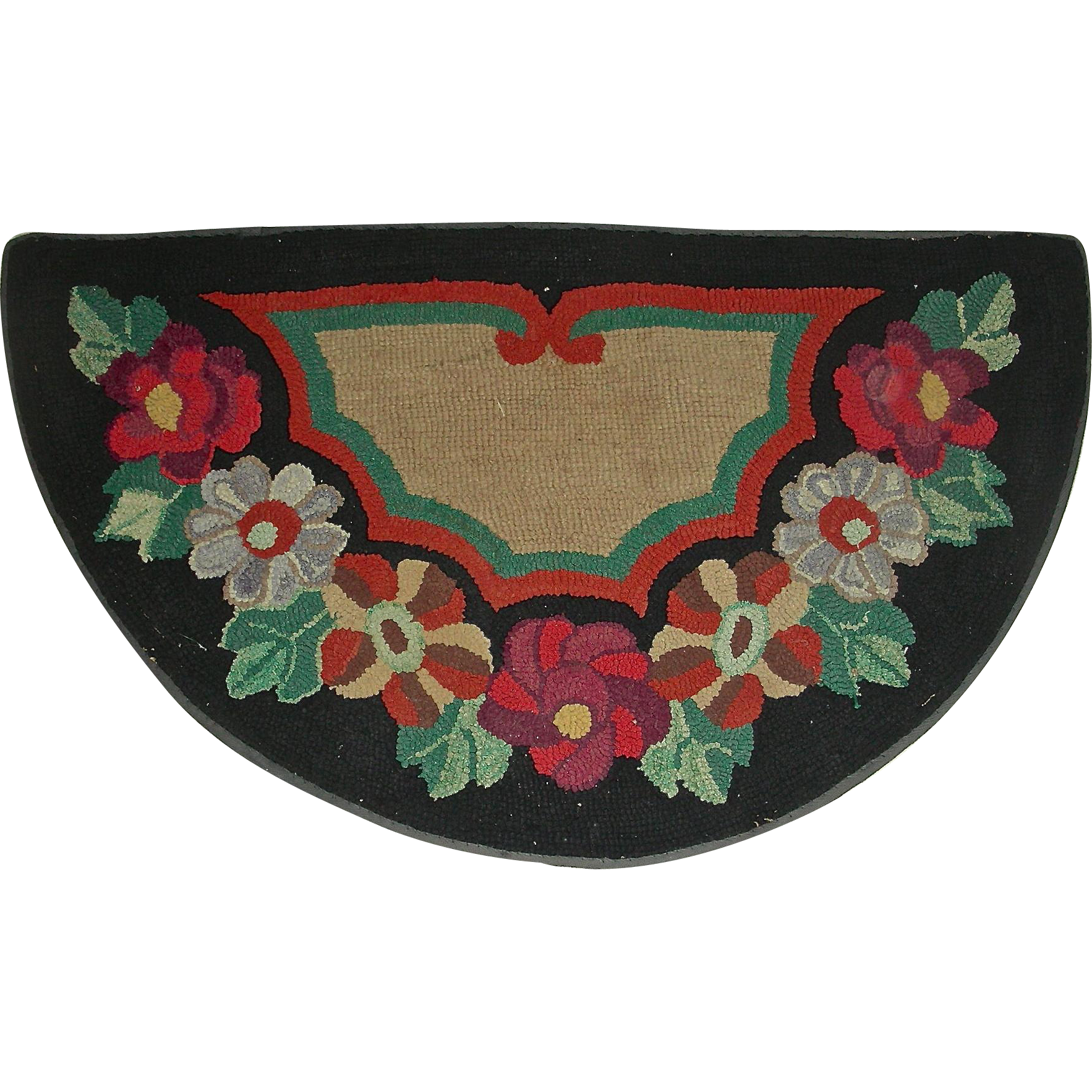 Half Round Floral Hooked Rug, c. 1930-1940