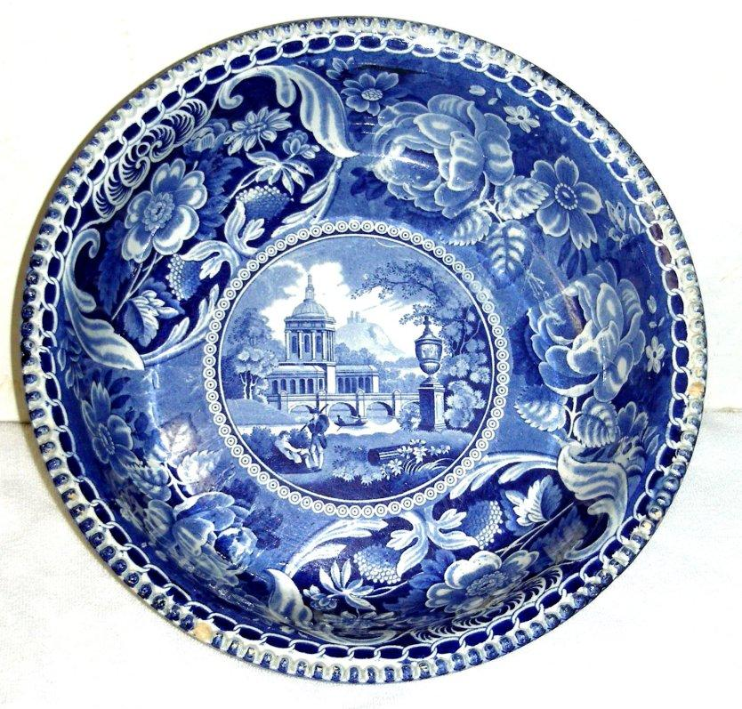 Large Blue Historical Staffordshire Potato Bowl