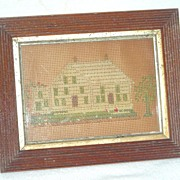 19th C Punch Paper Embroidery Sampler of House