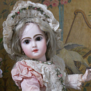 ~~~ Most Beautiful French BeBe Silk and Lace Dress with Bonnet ~~~