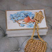 ~~~ Pretty French Poupee Miniature Gold Coin Purse ~~~