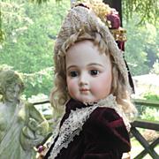 ~~~ Marvelous French Silk & Velvet BeBe Costume with Bonnet ~~~