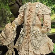 ~~~ Marvelous French Bebe Silk Dress with Bonnet ~~~