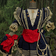 ~~~ Marvelous French Bebe Sailor Costume with Bonnet ~~~