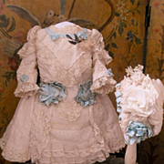 ~~~ Marvelous French Bebe Muslin Costume with Bonnet ~~~