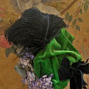 ~~~ Beautiful French Silk Velvet Bebe Bonnet ~~~