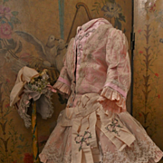 ~~~ Marvelous French Pink Silk and Lace Bebe Costume ~~~