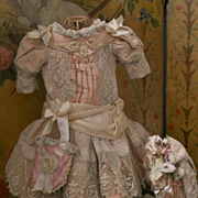 ~~~Marvelous French Bebe Silk Costume with Bonnet ~~~