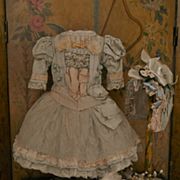 ~~~  Marvelous French Bebe Costume with Bonnet ~~~