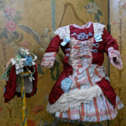 ~~~ Marvelous French Jumeau Red Silk Costume with Bonnet ~~~